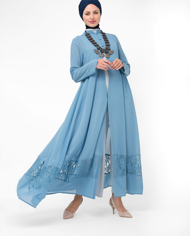 Full Length Blue Elegant Lace Outerwear