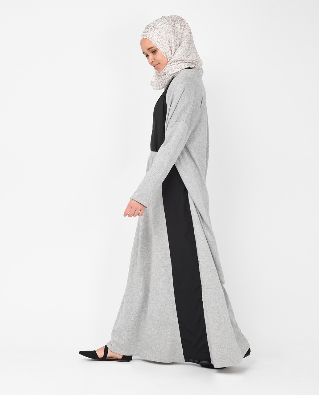 grey turn over collar detail long cover up india