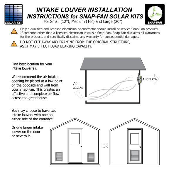 Information Intake Louver Install Snap Fan Solar