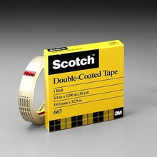 "Scotch Double Sided Tape, 665, 1/2"" x 1296"" 3"" Core"