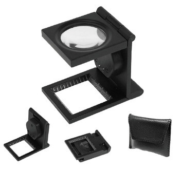 8x Metal Folding Linen Tester Magnifier With Led Light