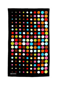 Cotton terry beach towel in Aero Dot Black design