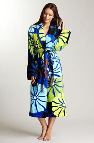 Unisex cotton terry robe in Umbrella Flower Blue