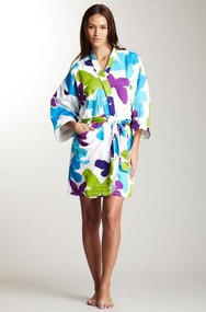 Women's Cotton Sateen Kimono Robe in Mariposa design