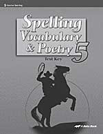 Spelling Vocabulary & Poetry 5, Test Key