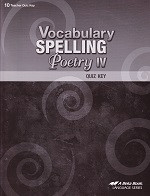 Vocabulary Spelling Poetry IV (10), 5th ed., Quiz Key