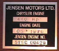 CT6573 Engine ID Plate, Valve Cover