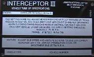 CT8425 Veh. Tune Spec Plate Int. 3