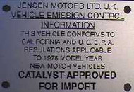 Catalyst Approve for Import Plate 1976-OEM