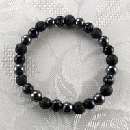 Lava Rock/Hematite/Marble Glass Beads Stretch Bracelet