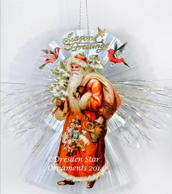 Woodsy Santa with Birds and Butterfly on Spun-Glass Comet