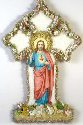 Jesus on Cotton Batting Cross Adorned with Flowers SS022814A