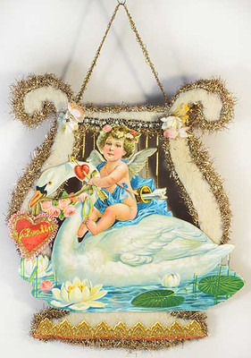 Reserved for Mike - Cherub Riding Swan on Cotton Batting Harp