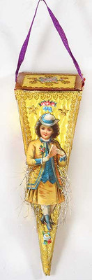 Antique Gold Paper Candy Container with Victorian Lady