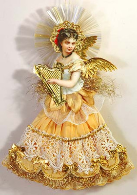 Dresden Angel with Gold Harp and Butter Cream Skirt