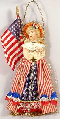 Victorian Lady in Stars-n-Stripes Dress with Large Flag