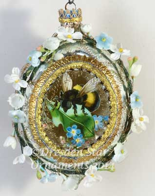 Large Silver and Gold Oval Indent with Bumblebee and Garland of Spring Flowers