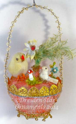 Antique Unsilvered Pink Basket with Antique Cotton Batting Chick, Dove, Mushroom and Flowers