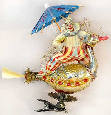 Zany Clown on Antique Circus duck Clip-On Ornament