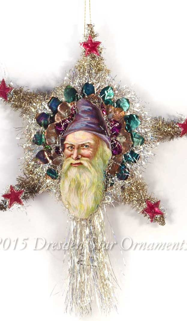victorian santa with purple  lavender hood on silver tinsel