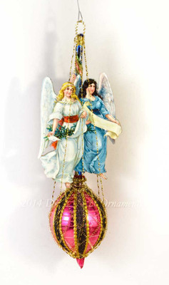 Twin Angels on Richly Colored Magenta Oval Glass Ornament with Decorative Wire