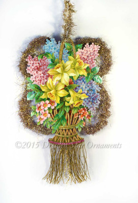 Large Two-Sided Ornament with Daffodils, Roses, and Gold Fringe