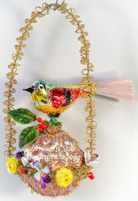 Glass Sparrow on Antique Glass Basket Wreathed in Flowers