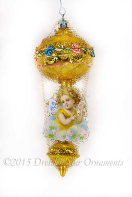Victorian Fairy Holding Roses on Dainty Golden Double-Balloon Ornament