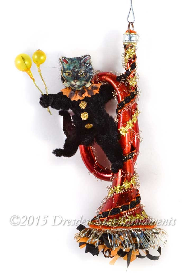 Make your own valentine with vintage paper vintage inspired - Halloween Cat With Balloons Swinging From Orange Glass
