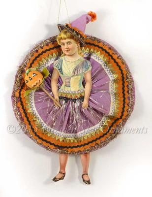 Halloween Circle-Skirt Girl in Party Costume with Pumpkin Pick