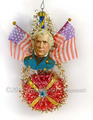 President Taylor With Silk Flags On Antique Glass Molded Ornament
