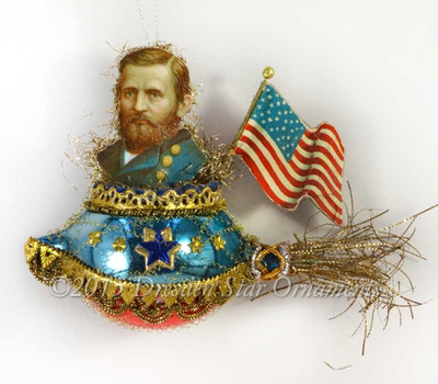 Dapper General Grant With Flag Riding Victorian Glass Rocket Ornament