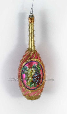 Richly Decorated Antique Glass Wine Bottle Victorian Ornament