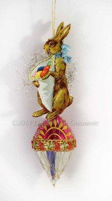 Bunny with Cornucopia on Cheerful Glass Cone Ornament