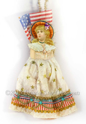Victorian Patriotic Girl Ornament With Cotton Batting Skirt And Rare Antique Linen Flag