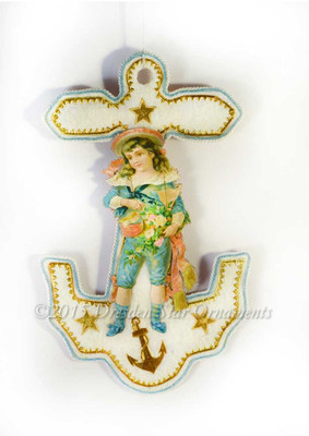 Blue Sailor Boy with Toy Boat on Cotton Batting Anchor