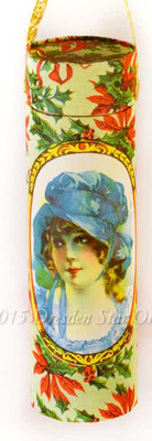 RARE Lady with Bonnet and Poinsettias on Tall Cylinder Candy Container