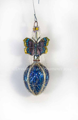Reserved for Courtney - Butterfly on Molded Blue Ornament