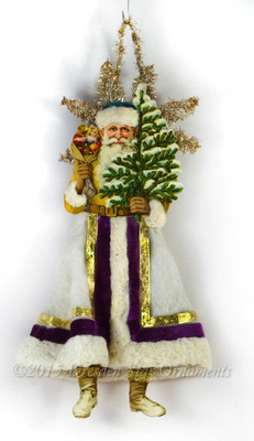 Reserved for Dennis- Santa Holding Tree with Cotton Batting Skirt and Velvet Ribbon