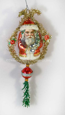 Reserved for Dennis- Glass Santa with Scrap Face on Tinsel Ornament with Red Bead