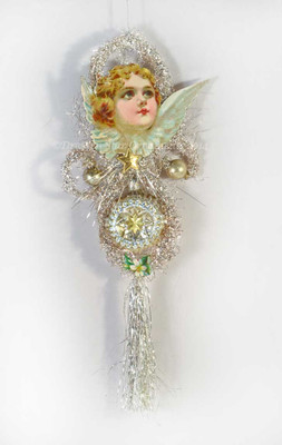 Reserved for Dennis – Ethereal Cherub on Silver Tinsel Ornament with Glass Antique Star