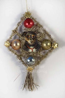 Reserved for Ellen - Scrap & Tinsel Doggie with Glass Beads Ornament 1
