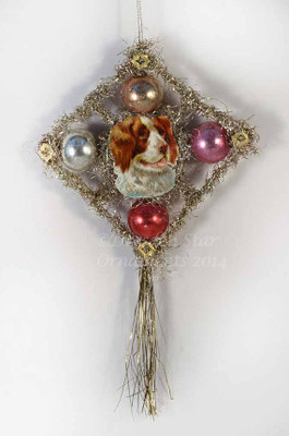 Reserved for Ellen - Scrap & Tinsel Doggie with Glass Beads Ornament 2