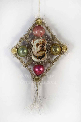Reserved for Ellen - Scrap & Tinsel Doggie with Glass Beads Ornament 4