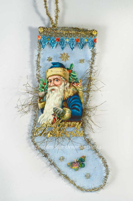 Reserved for Janice - Santa in Blue Coat on Blue Mesh Stocking Candy Container