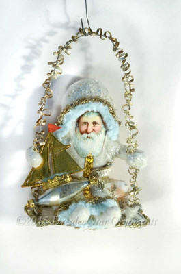Reserved for Joanne – Coastal Cotton Santa on Swing with Toy Sailboat