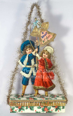 Reserved for Susan - Large Candy Container Ornament with Children Ringing Bells