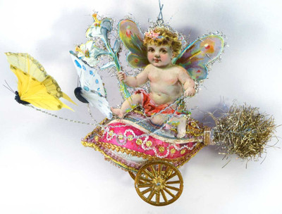 Reserved for Yuliya –Cherub Riding Glass Egg Chariot Pulled By Butterflies