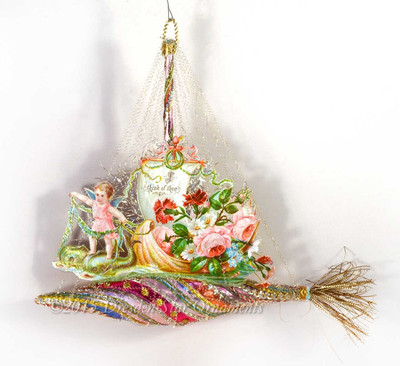 Reserved for Yuliya – Angel Riding Magical Fish on fanciful Glass Ship Ornament