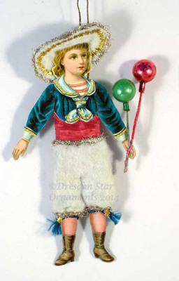 Victorian Sailor Boy Paper-Doll with Cotton Batting Knickers and Balloons